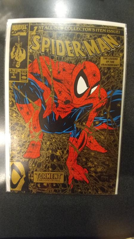Spider-Man #1 (1990, Marvel) NM 2nd Print Gold Variant Torment Todd McFarlane