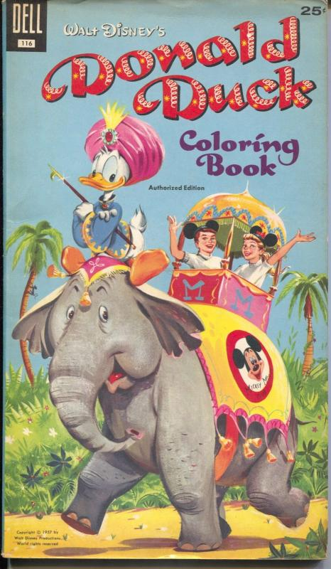 Donald Duck Coloring Book - Walt Disney #116 1957-Dell-Mickey Mouse Club-VG/FN
