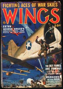 WINGS PULP-feb 1943-PARACHUTE/GLIDERS CVR-FICTION HOUSE VG