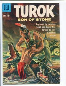TUROK SON OF STONE #22-DELL-1960-DINSOSAUR COVER AND STORIES- RARE VF minus VF