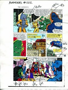 Avengers #222 1982 Hand Painted  Colorguide Page 15-Tiger Shark-Egg Head-Thor-VG