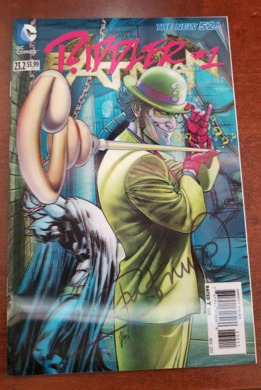 BATMAN 23.2 Riddler #1 Signed by Ray Fawkes 3D Cover DC Comics 2013 NM!!