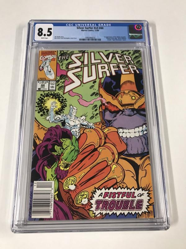 Silver Surfer 44 Cgc 8.5 White Pages Newsstand Edition Marvel