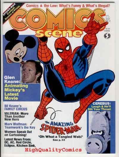 COMICS SCENE #8, NM, Spider-man, Mickey Mouse, Cerebus, 1982