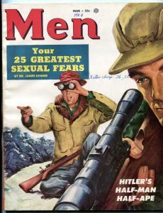 Men Magazine March 1954-HITLER'S HALF-MAN HALF-APE FN