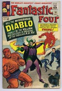 Fantastic Four #30 ORIGINAL Vintage 1964 Marvel Comics Intro Diablo