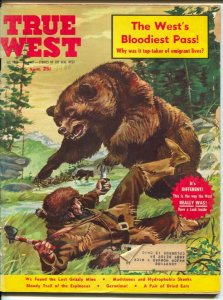 True West 4/1960-Clay McGaughy Grizzly Bear attack cover-ghost towns-FR