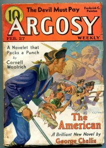 Argosy Pulp February 27 1937-Cornell Woolrich- George Challis VG