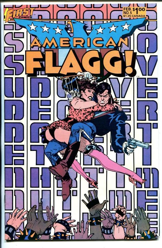 American Flagg #5 1985-First-autographed by Howard Chaykin on splash page-VF