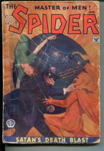 SPIDER-6/1934-SATAN'S DEATH BLAST-HERO PULP-WEIRD MENACE-good
