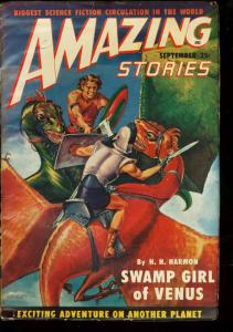 Amazing Stories Pulp September 1949- Swamp Girl of Venus- Dragon cover