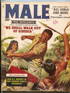 Male Magazine January 1959- Pitjendajara Island- Men's Adventure VG