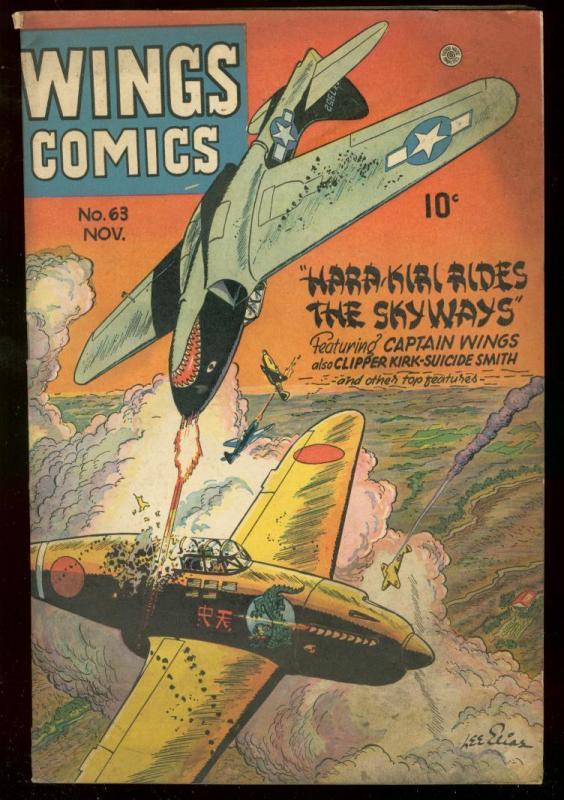 WING COMICS #63 1945 LEE ELIAS FICTION HOUSE GIRL ART VG