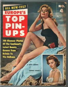 Europe's Top Pin-Ups 1957-Anita Ekberg-Sophia Loren-Joan Collins-VG