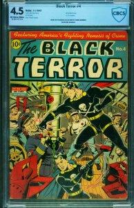 THE BLACK TERROR #4 CBCS 4.5 Nazi Submarine WWII cover-Nedor-Schomburg