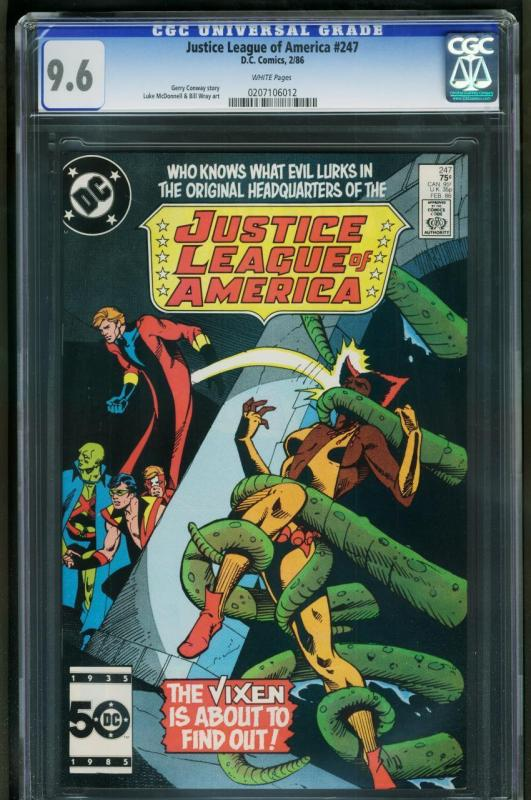 JUSTICE LEAGUE OF AMERICA #247-CGC 9.6 WP-TOUGH BLACK COVER 0207106012