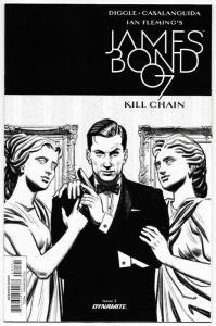 James Bond Kill Chain #3 RI 1:10 B&W Variant (Dynamite, 2017) NM