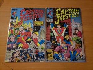 Captain Justice 1-2 Complete Set Run! ~ NEAR MINT NM ~ 1988 Marvel Comics