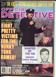 Official Detective 8/1985- spicy gun moll-crime pulp thrills-satanist-VG