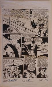 JUMBO COMICS #164 pg 21 original art, 13x22, 1952, Private Eye, Assassination