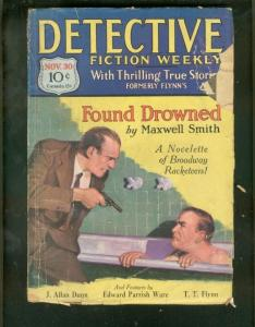 DETECTIVE FICTION WEEKLY PULP-11/30/29-BATHTUB COVER    G-