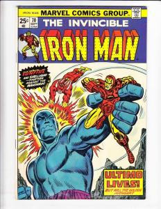 Iron Man [1974 Marvel] #70 VF sunfire - ultimo - with marvel value stamp intact