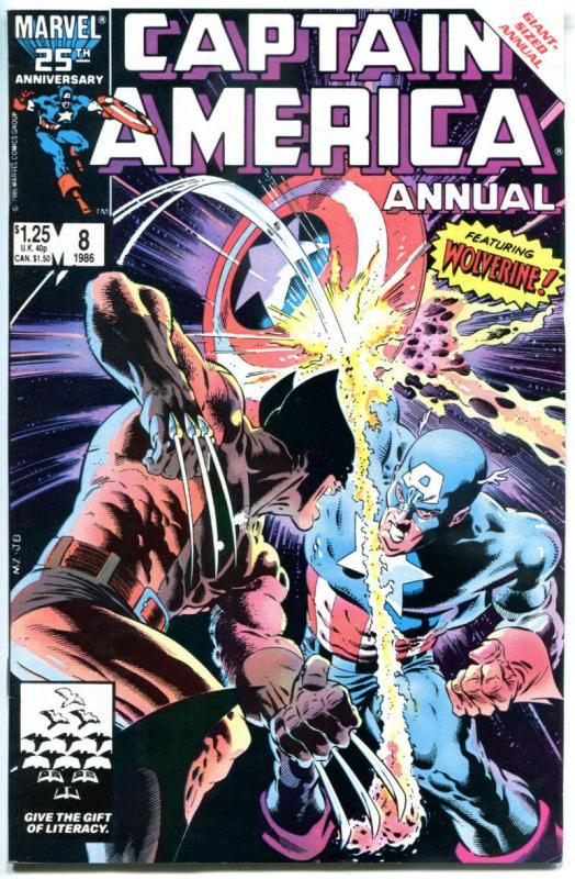 CAPTAIN AMERICA #8 Annual, VF, vs Wolverine, Mike Zeck, 1968, more CA in store