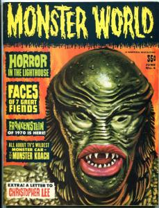 Monster World #4 1965- Christopher Lee- Frankenstein VG