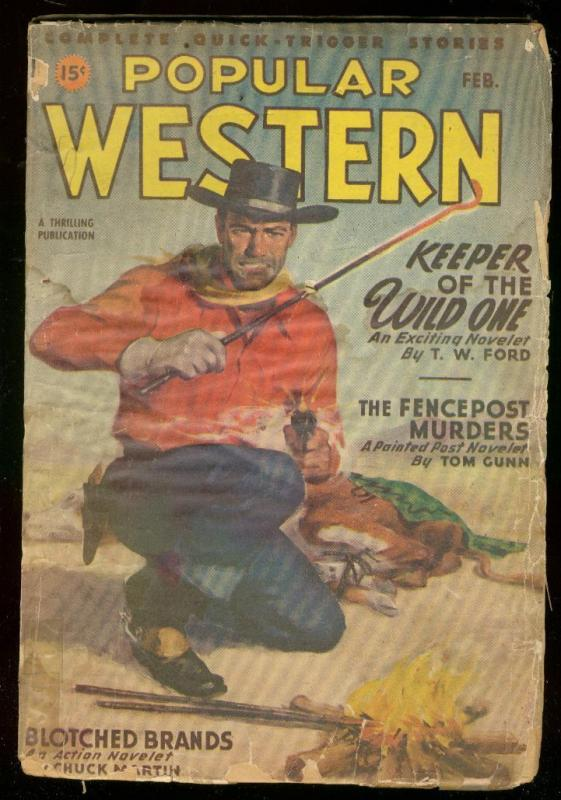 POPULAR WESTERN PULP FEB 1947-LOUIS L'AMOUR-GUNFIGHT G