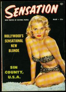 Sensation Magazine #2 March 1954- Mamie Van Doren Cheesecake- Marla English
