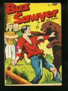 BUZ SAWYER COMICS #3 1949-ROY CRANE ART-BEAR FIGHT COVER-  VFminus VF-