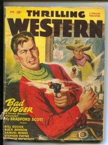 Thrilling Western Pulp 4/1948-Gunfight cover-Walt Slade-Pulp stories-Bradford...