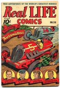 Real Life Comics #36 1946-Candian-SCHOMBURG-Car Race cover