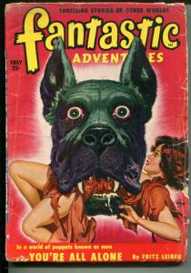 FANTASTIC ADVENTURES 7/1950-ZIFF-DAVIS-PULP SCI-FI-JONES COVER-BLOCH-LEIBER-g