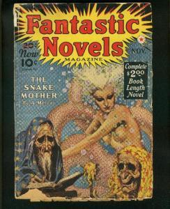 FANTASTIC NOVELS #3-NOV 1940-VIRGIL FINLAY ART-SNAKE MOTHER by MERRIT- fair FR/G