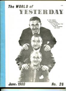 World of Yesterday #28 6/1980-Three Stooges-Sherlock Holmes-Nigel Bruce-VG