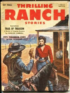 THRILLING RANCH STORIES  Fall 1953--GIRL ART COVER-PULP FICTION--TALMAGE POWE...