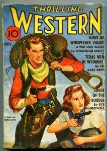 Thrilling Western Pulp November 1941- Walt Slade- Guns Whispering Valley