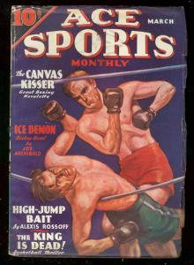 ACE SPORTS PULPS MARCH 1936-DESOTO BOXING COVER-HOCKEY VG