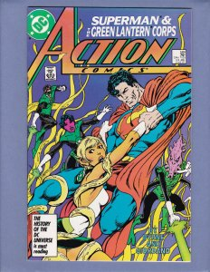 Action Comics #589 VF/NM Superman Green Lantern Front/Back Cover Scans DC 1987