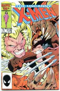 X-MEN #213 1987-WOLVERINE V SABERTOOTH-BATTLE ISSUE f/vf