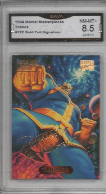 Thanos 1994 Marvel Masterpieces Gold Foil Signature Insert Graded 8.5