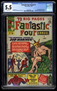 Fantastic Four Annual #1 CGC FN- 5.5 Off White