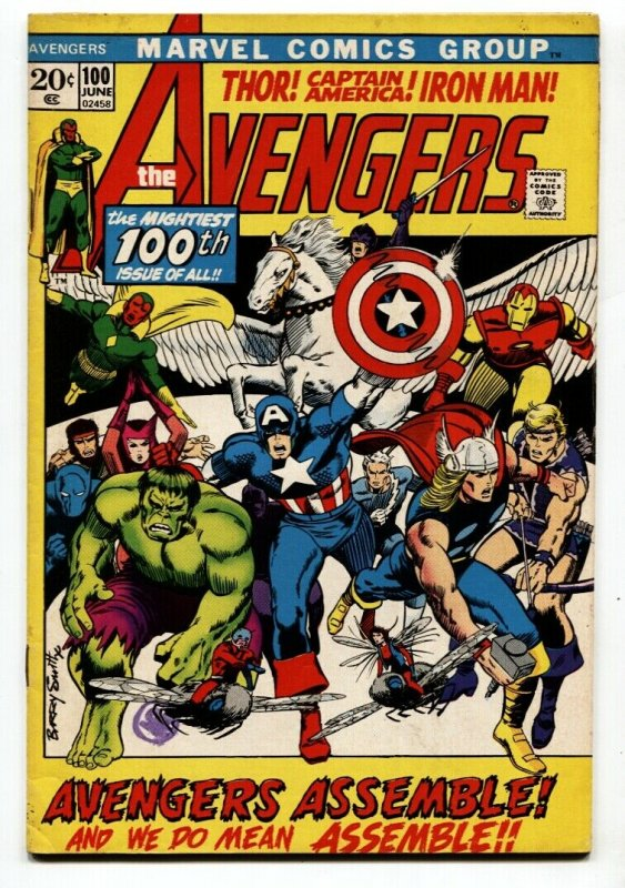 Avengers #100 1972- Classic Barry Smith cover All members assemble VF-
