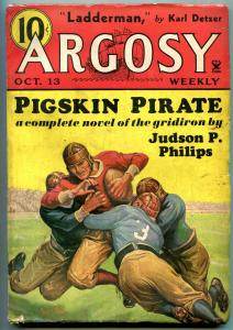 Argosy Weekly Pulp October 13 1934- Football cover- Creep Shadow VG