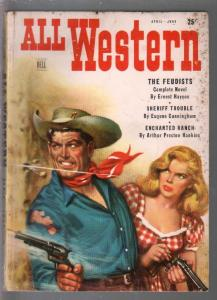 All Western 4/1950-Dell-1st issue-Ernest Haycox-Harry Sinclair Drago-pulp digest