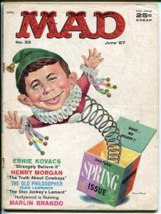 MAD #33-ALFRED IN THE BOX COVER BY MINGO-WOOD-ORLANDO-DRUCKER-1957-vg