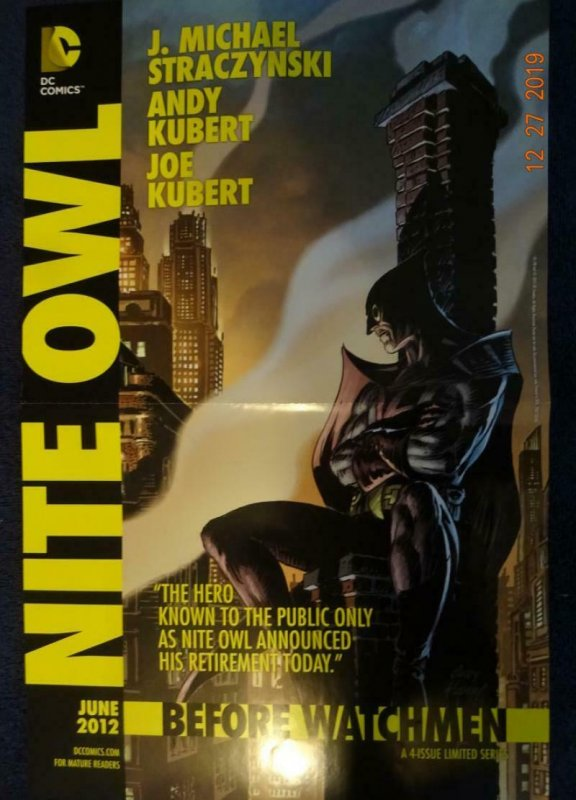 NITE OWL BEFORE WATCHMEN Promo Poster, 11 x 17, 2012, DC Unused 406