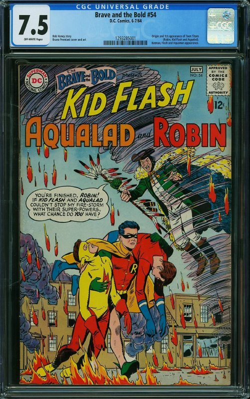 BRAVE AND THE BOLD #54 CGC Graded 7.5 Origin and 1st App of Teen Titans