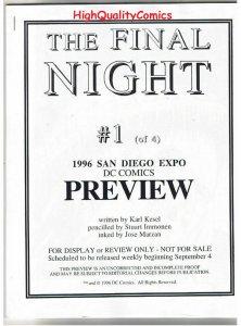 FINAL NIGHT #1 Black & White Promo, 1996, VF/NM, Preview,  more in store